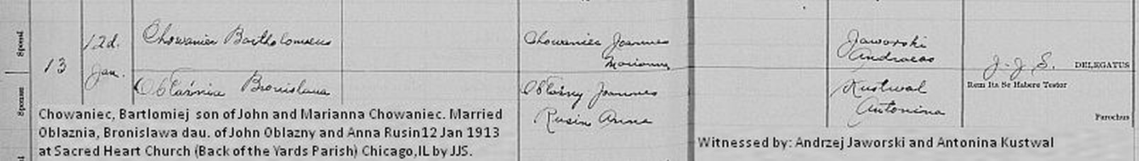Bartlomiej -Bronislawa marriage record 1913.jpg