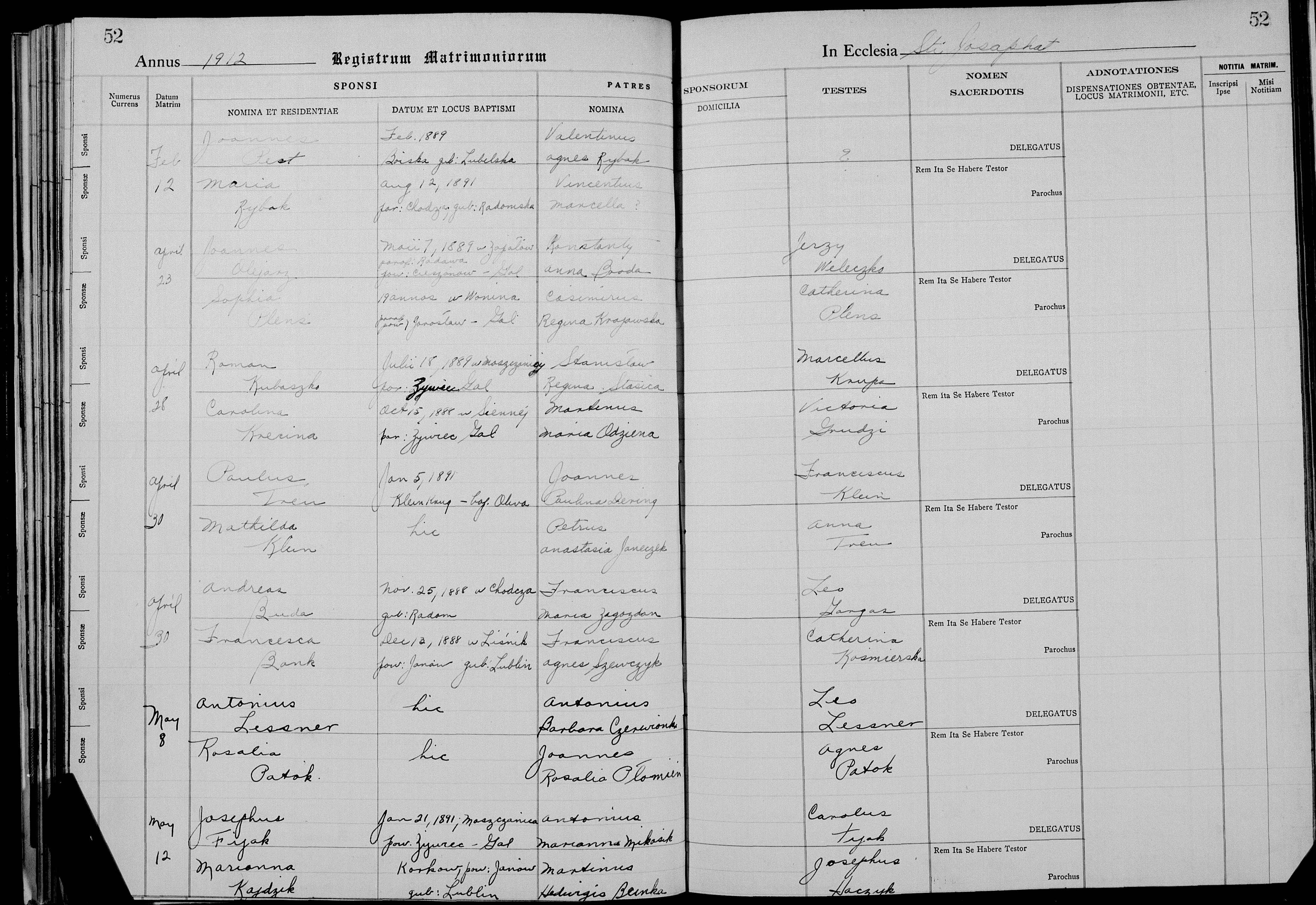 Kubaszko Roman and Krecina Carol April 28 1912 St. Josaphat Parish Chicago Marriage Register.jpg
