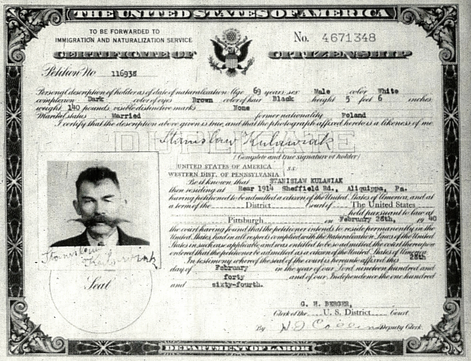 Forum polishorigins view topic citizenship and kulawiak 1940 naturalization certificate photo copyg xflitez Choice Image