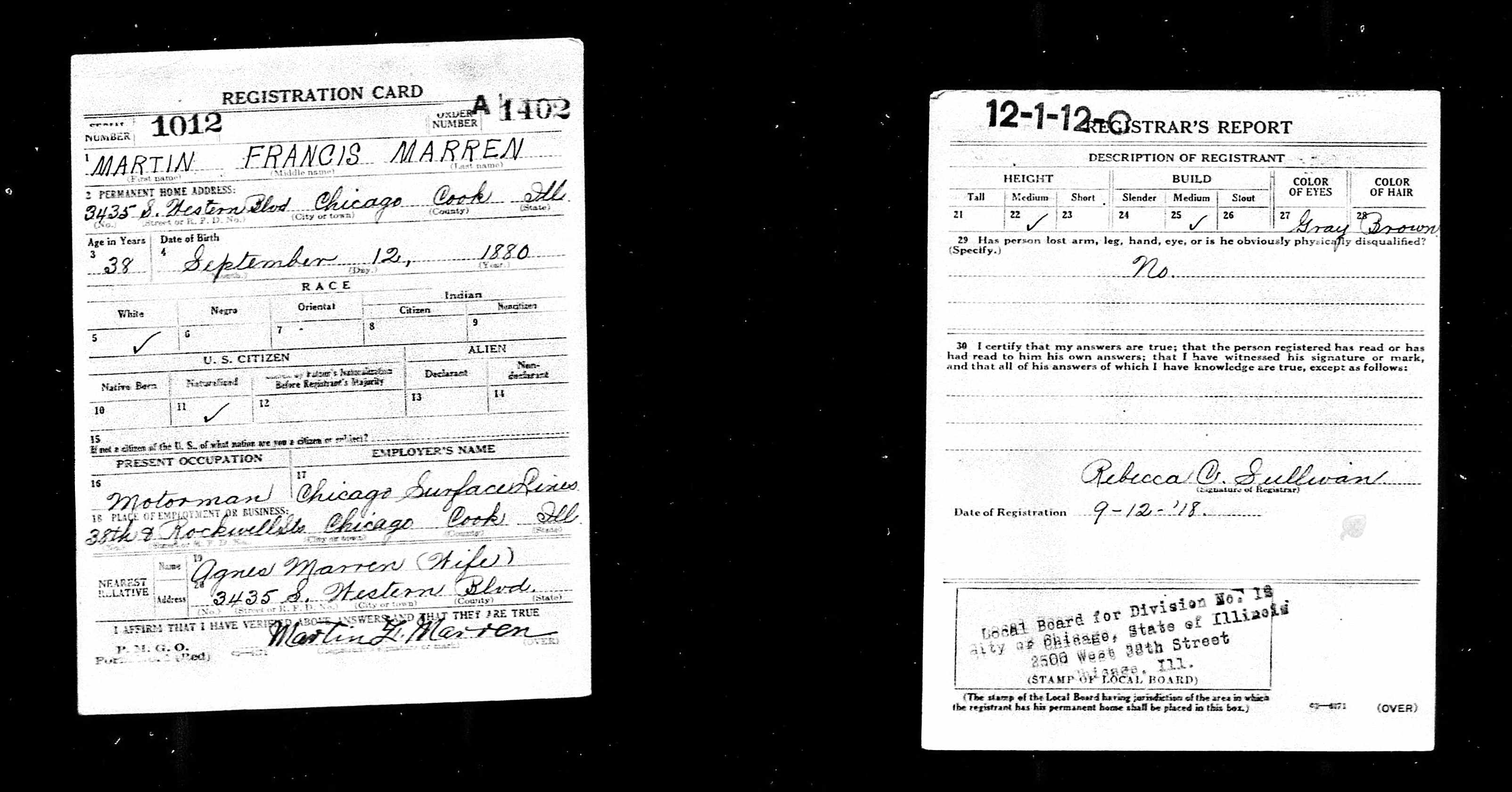 Marut Martin Frank Chicago WW I Draft Registration Card.jpg