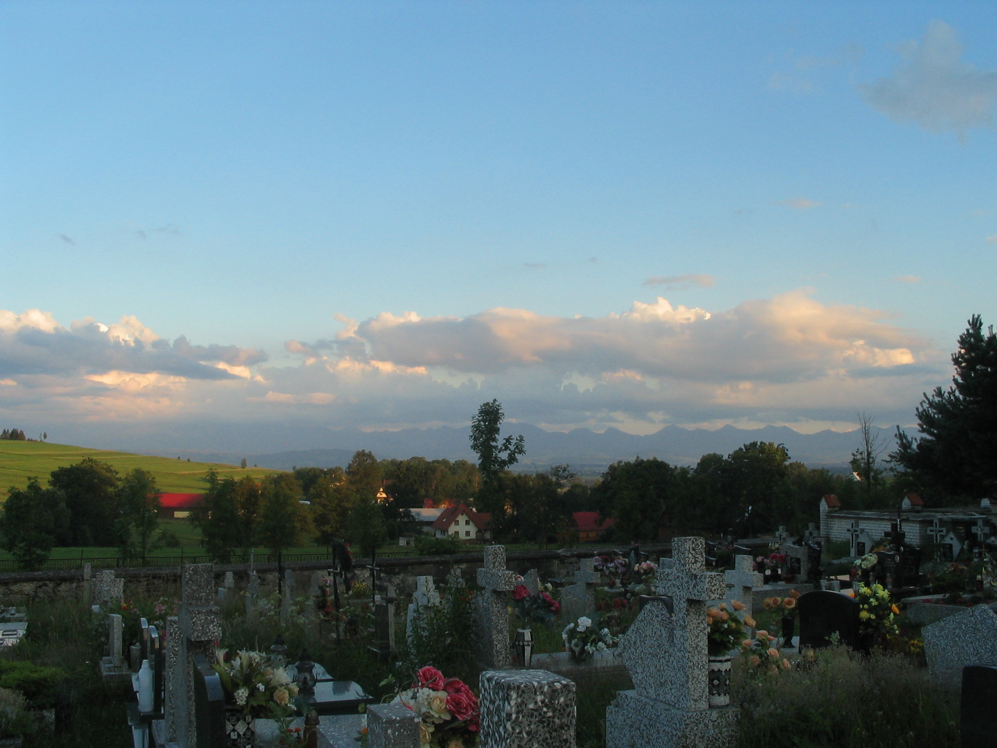 Odrowaz cemetery with Tatry Mountains in distance (click to enlarge).JPG
